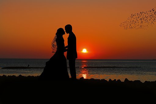 Sunset, Bride And Groom, Silhouette, Romantic, Wedding