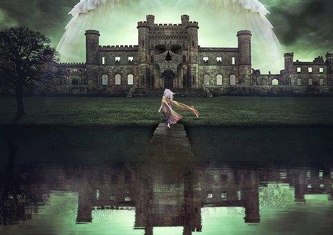 Mystical, Fantasy, Angel, Girl, Bridge, Death, Castle