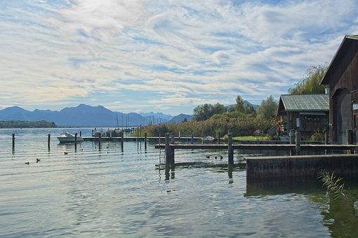 Chiemsee, Upper Bavaria, Landscape, Pier
