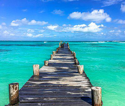 Mexico, The Pier, Cancun, Ocean, Clouds, Panorama, Sky