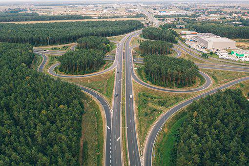 Drone, Aerial, Highway, Crossroad, Freeway, Motorway
