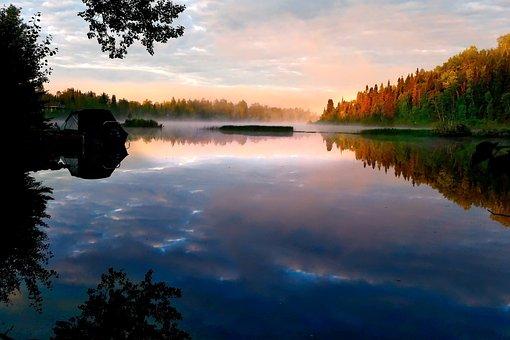 Landscape, Nature, Fog, Clouds, Lake, Environment