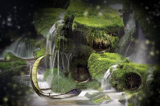 Fairy, Home, Boat, Gate, Doors, Water, Moss