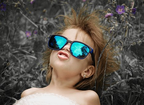 Girl, Baby, Glasses, Happy, Good Luck, Colorful