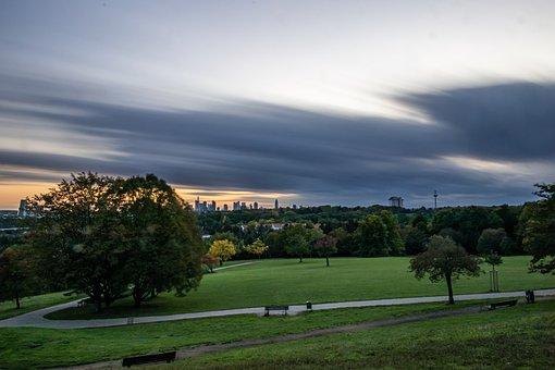 Tags Tree, Grass, Park, Sky, Sunset, Landscape, City