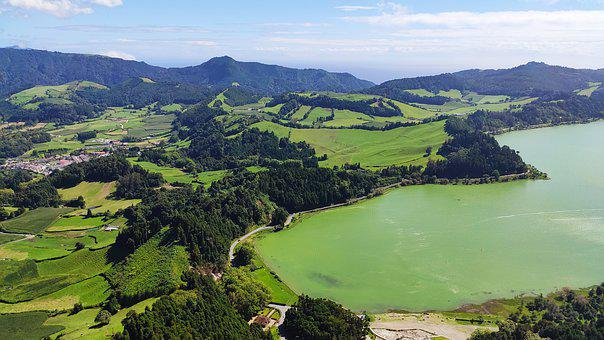 Lake, Water, Sky, Nature, Grass, Green