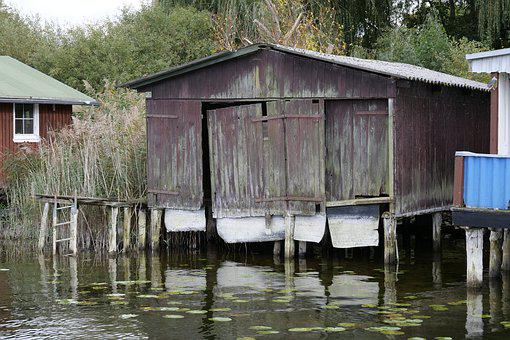Boat House, Old, House, Wood, Hut, Stilt House, Water