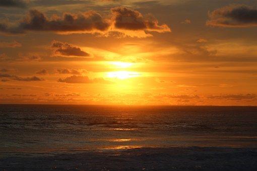 Sun, Sunset, Summer, Beach, Landscape, Sky, Clouds
