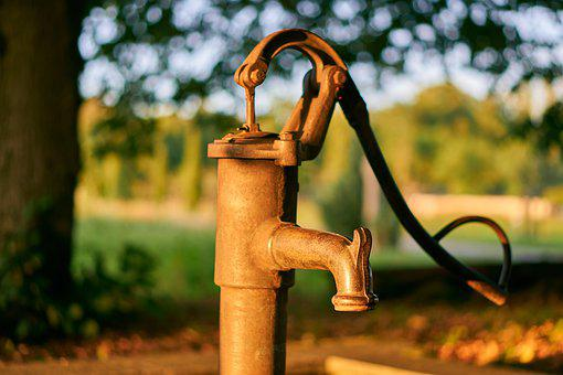 Fountain, Water, Donor, Pump, Hand Pump, Manually