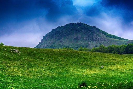 Mountain, Blue, Sky, Green, Grass, Mountains, Landscape