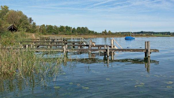Pier, Wooden Walkways, Jetty, Chiemsee, Waters