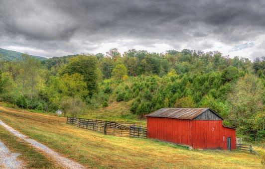 Countryside, Barn, Rural, Virginia, Farm, Dirt Road