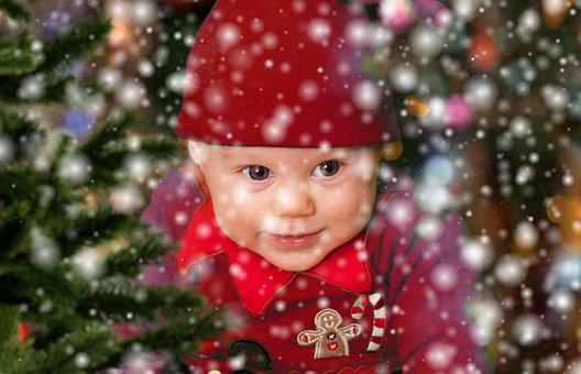 Christmas, Baby, Eleven, Snow, Snowfall, Christmas Elf
