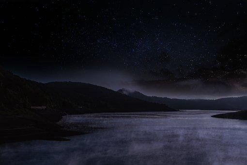 Lake, Water, Waters, Sky, Star, Starry Sky, Fog, Steam