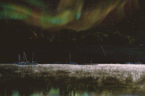 Northern Lights, Sky, Star, Lake, Water, Fog, Steam