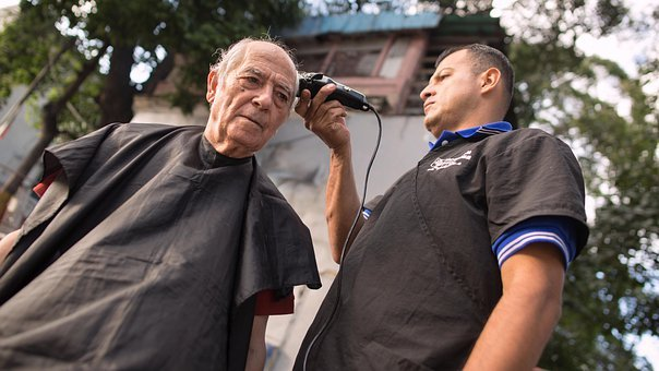 Barber, Street Barbershop, Haircut, Old Man