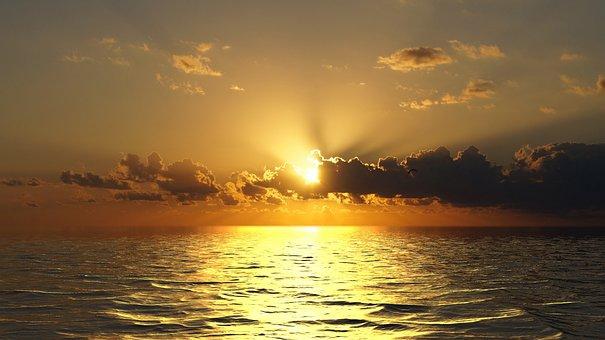 Sunset, Ocean, Sky, Dusk, Nature, Evening, Clouds