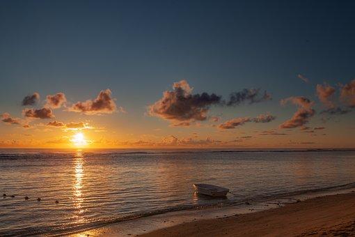 Coast Sunset, Sunset, Sea View, Rowing Boat, Skyline