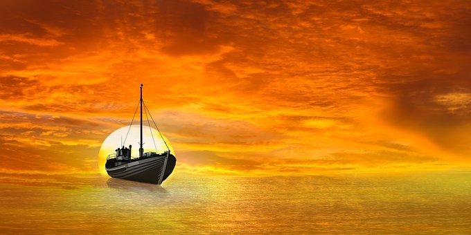 Background, Travel, Vacations, Sunset, Ocean, Orange