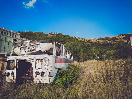 Old, Vintage, Bus, Sky, Landscape, Grass, Green, Retro