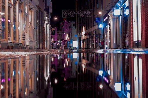 Reflection, Shopping Street, Water, Urban, Netherlands