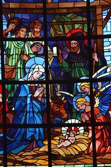 Stained Glass, Window, Church, Color, Faith, Christmas