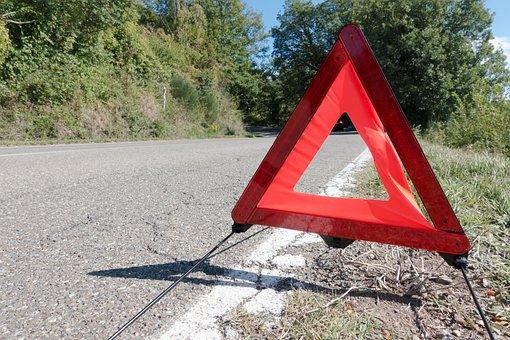 Breakdown, Warning Triangle, Car Breakdown, Asphalt