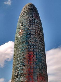 Building, Modern, Barcelona, Blue, White, Grey, Red