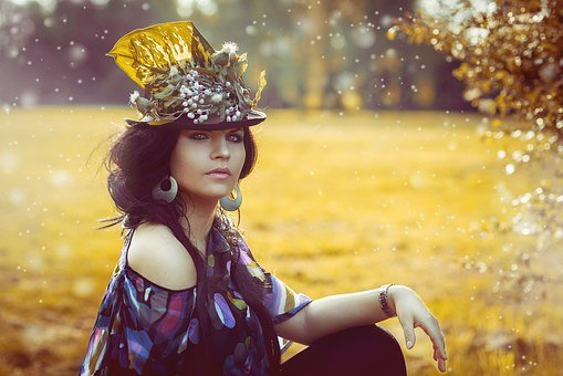 Beauty, Woman, Flowered Hat, Cap, Cosmetics, Luck