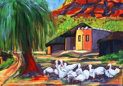 Painted Landscape, Acrylic Paint, Canvas, Artistic