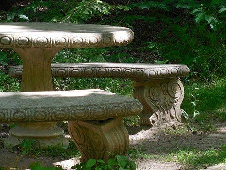 Concrete, Picnic Table, Picnic, Table, Park, Bench