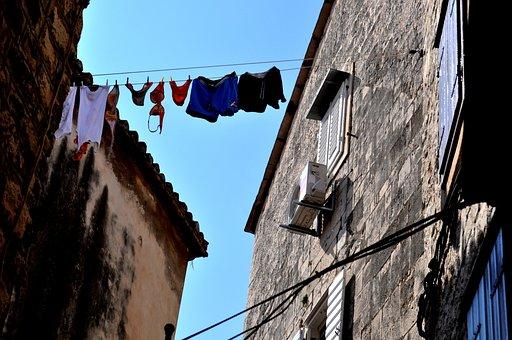 Dalmatian Way Of Drying Laundry, Trogir, Croatia