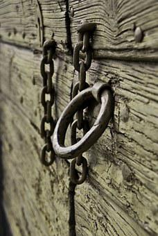 Ring, Door, Wood, Old, Chain, Metal, Steel, Security
