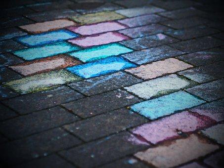 Play, Child, Sidewalk, Chalk, Flashlights