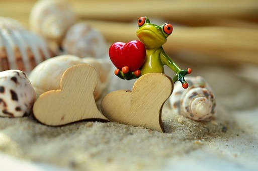 Sand, Heart, Frog, Valentine's Day, Funny, Wood