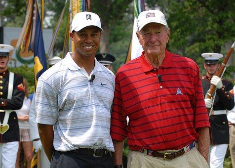 Tiger Woods, Golfer, Athlete, George Hw Bush, President