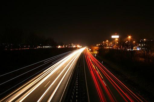 Long Exposure, Autos, Highway, Traffic, Road, Movement