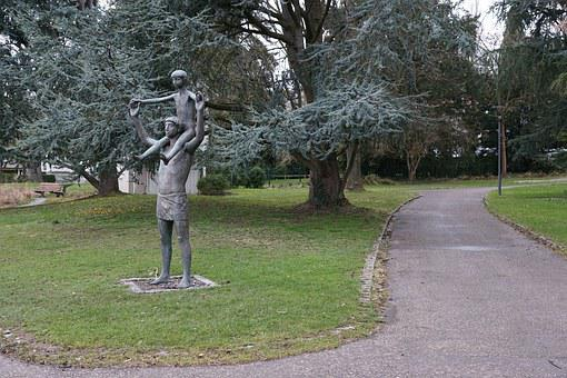 Statue, Child, On The Shoulders, Man, Family, Play