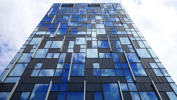 Building, Glass, Architecture, Office, Modern, Blue