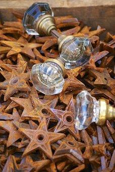 Decor, Knobs, Rust, Stars, Door, Texture, Old, Design