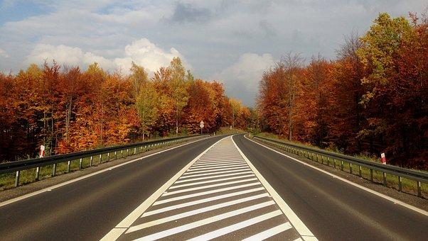 Autumn, Highway, Poland, Olkusz, Autumn Landscape