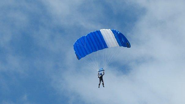 Parachute, Parachutist, Sky, Float, Fly, Blue White