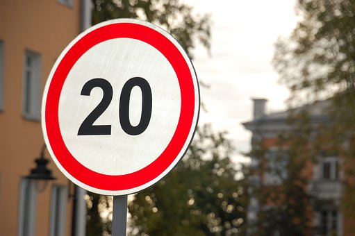 Road Sign, Speed Limit, Street, Road, Metal, Twilight