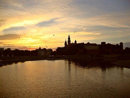 Kraków, Poland, Wawel, Sunrise, Scenically, Water