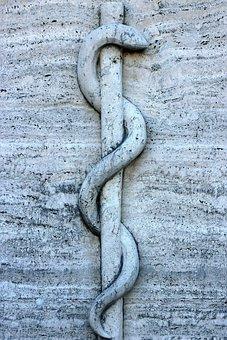 Relief, Symbol, Rod, Snake, äskulapstab