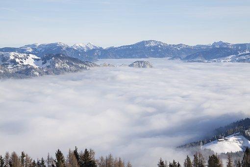 Mountains, Fog, Landscape, Winter, Snow