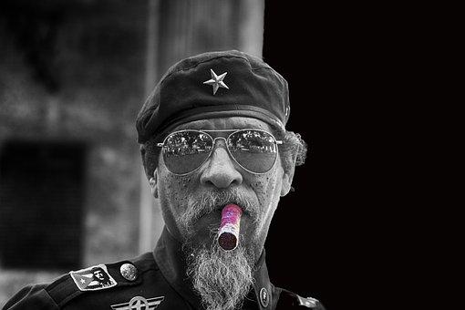 Havana, Cigar, Black And White, Cap, Star, Man