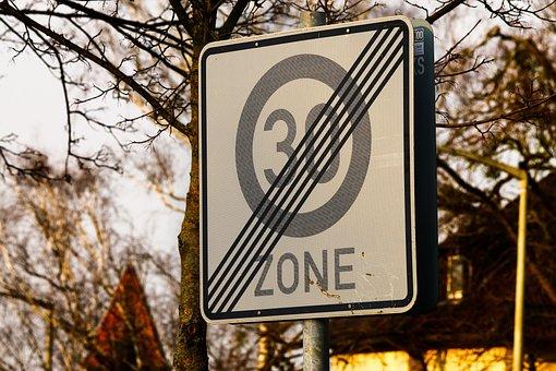 Shield, 30, Zone 30, Street Sign, Speed Limitation