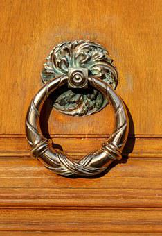 Door, Thumper, Button, Door Knob, Wood, Handle