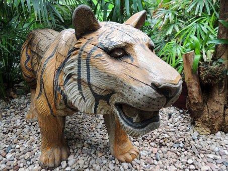 Tiger, Pebble, Jungle, Trees, Animal, Big Cat, Tropics